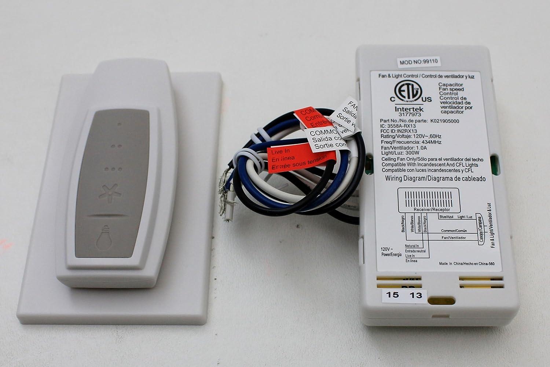 Hunter Universal 3 Speed Ceiling Fan Control 99110 Hampton Bay Wiring Diagram 15 Wall Remote Controls