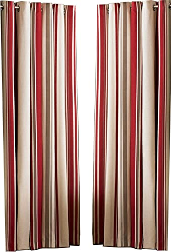 DAVENPORT RED CREAM STRIPED 117CM X 137CM COTTON BLEND RING TOP CURTAIN DRAPES