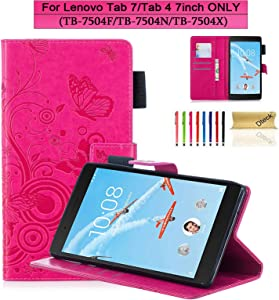 Lenovo Tab 7/Tab 4 7 inch Case, Dteck Slim Lightweight PU Leather Flip Stand Case Cover with Card Holder for Lenovo Tab 7/Tab 4 7inch (TB-7504F/N/X) ZA360022US 2017 Tablet - Rose