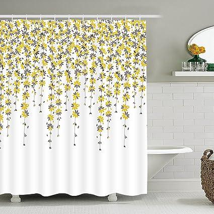 Sunm Boutique Yellow Flowers Bathroom Shower Curtain Set Hooks Included Anti Mildew Waterproof Odorless