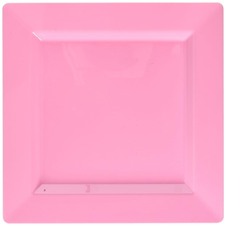 438660.109 6 Pk Party Tableware TradeMart Inc Amscan Premium Pink Plastic Square Plates