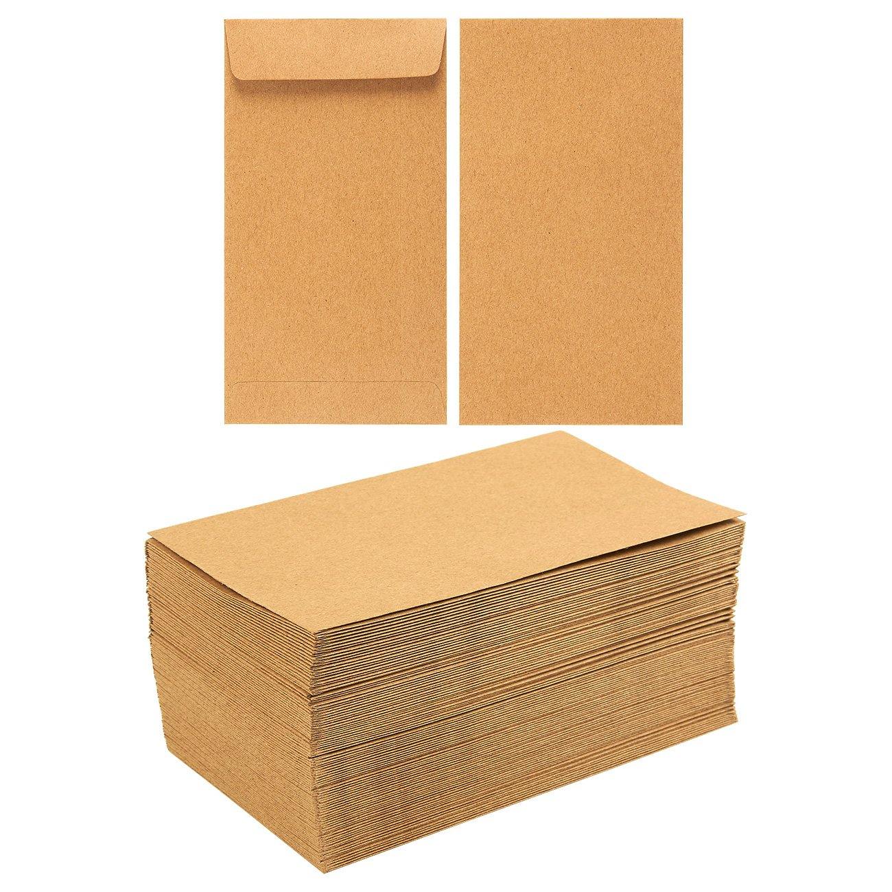 Juvale 100-Pack Coin Envelopes - Small Kraft Money Envelopes Currency Exchange, Business Use, Personal Gift-Giving, Brown - 3.5 x 6.5 inches