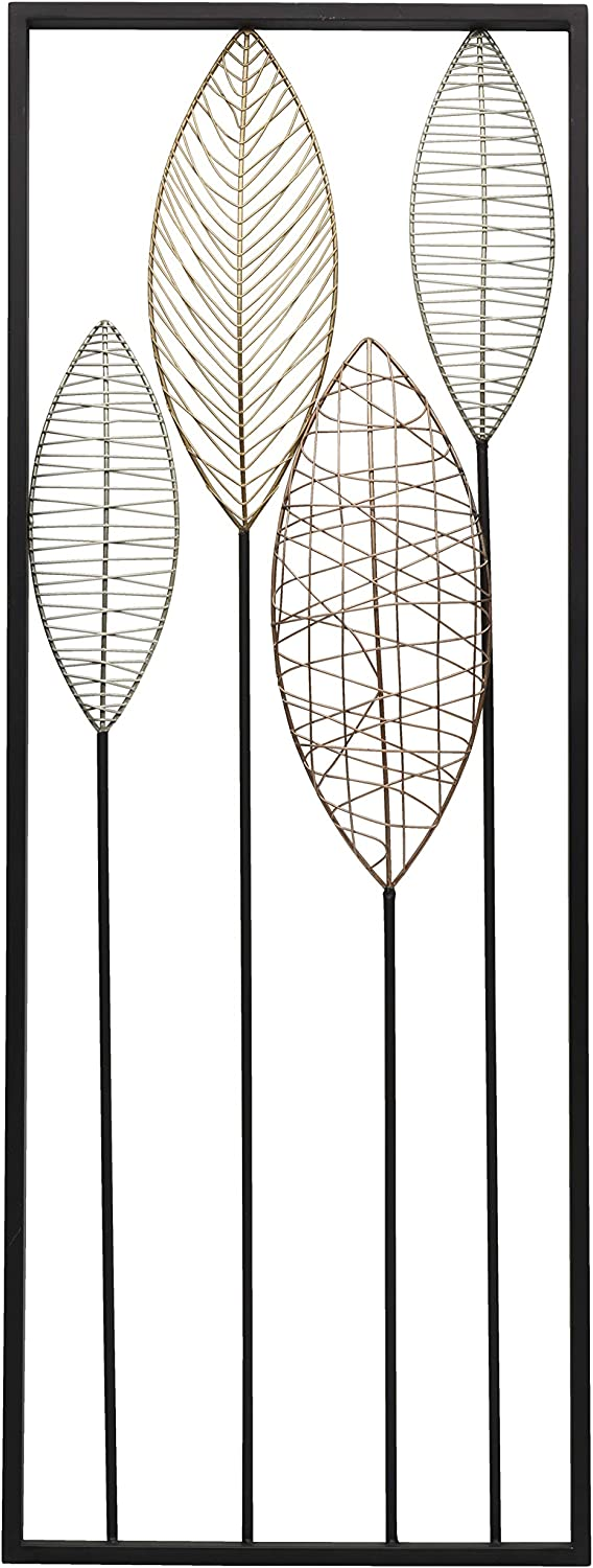 Scott Living Luxe Metal Feather Wall Décor, 32 inch, Black