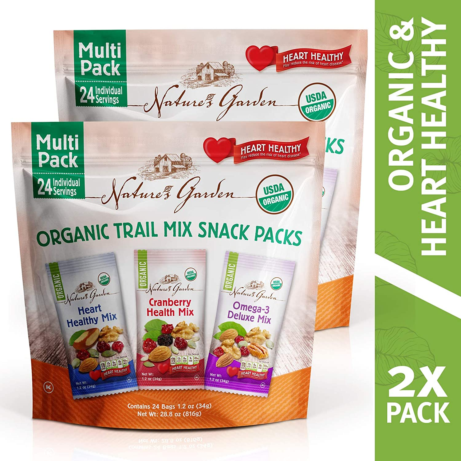 Nature's Garden Organic Trail Mix Snack Packs, Multi Pack 28.8 oz - 24 Individual Servings (Pack of 2)