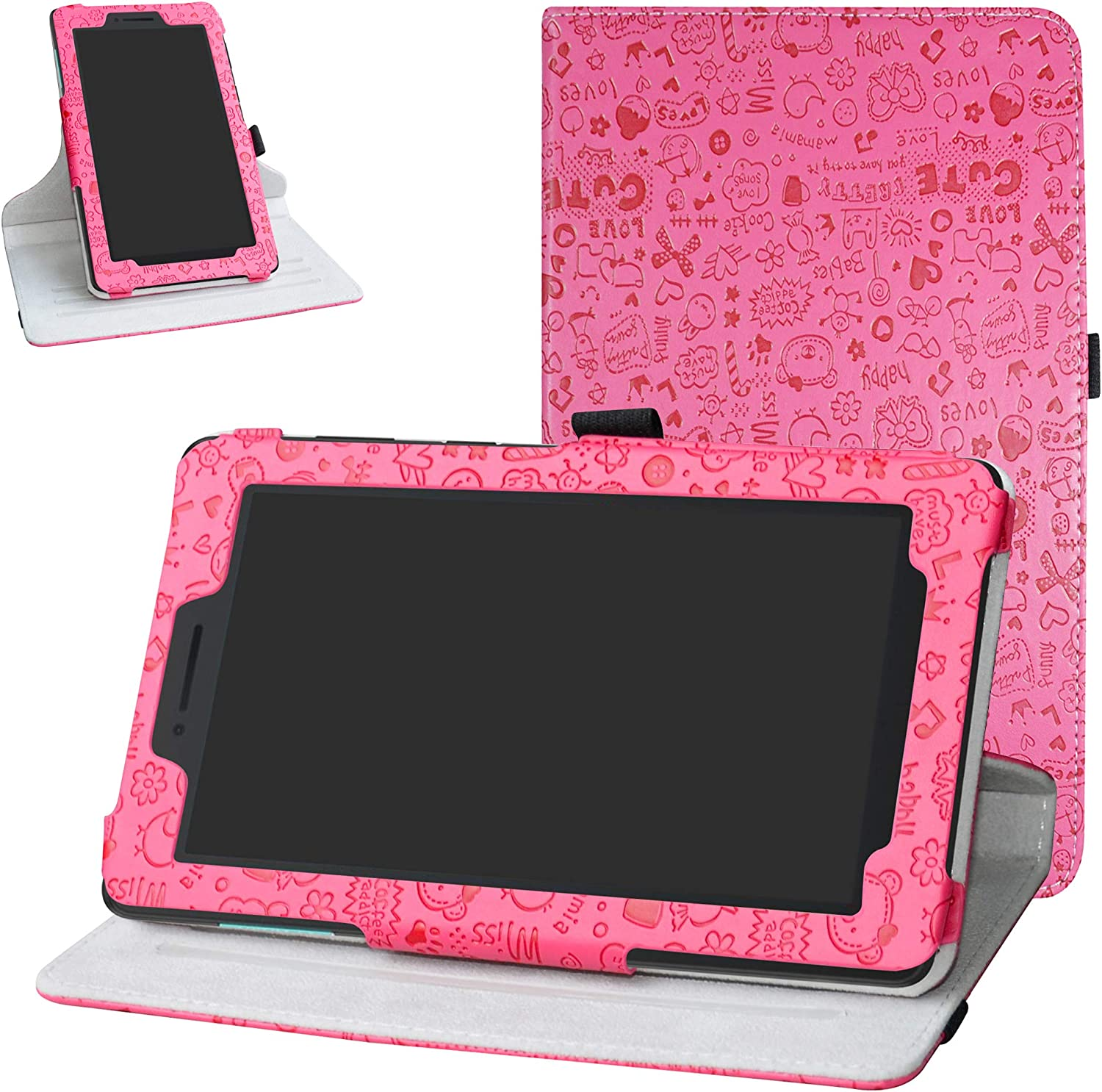 """Lenovo Tab E7 2018 Rotating Case,Bige 360 Degree Rotary Stand with Cute Pattern Cover for 7"""" Lenovo TAB E7 TB-7104F Tablet(2018),Rose Red"""