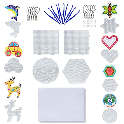 11 Pieces Boards- 5mm 4 Pieces Fuse Beads Boards Large Clear Pegboards Kits Total 48 PCS and 7 pcs Other Shapes Small Beads Boards+Bonus Small Components for Kids Craft Hexagon /& Square /& Round