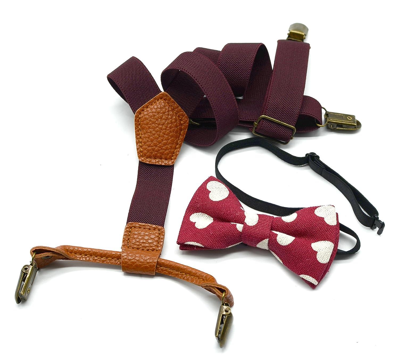 YEENI Bretelle per bambini, reggicalze elastiche in tinta unita da 25 mm con 4 cravatte a clip in metallo
