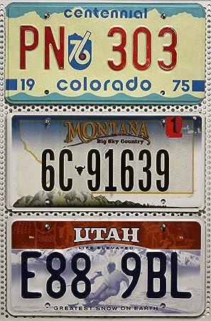 3 Kennzeichen Set Nummernschilder Der Us Staaten Montana Utah Colorado License Plates Lot Usa Autoschilder Auto