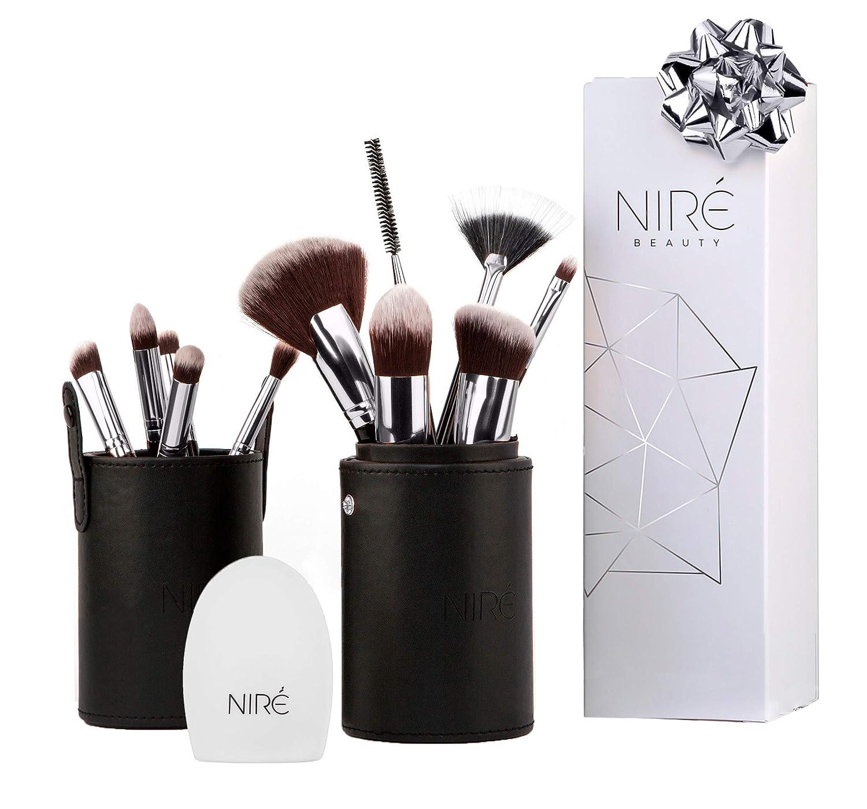 Niré Beauty Next Level Kabuki: Professionell Pinselset Makeup Kabuki + Kosmetikbeutel für Kosmetikpinsel & Pinselreiniger Kosmetik *** Ideal Geschenke Luxe England