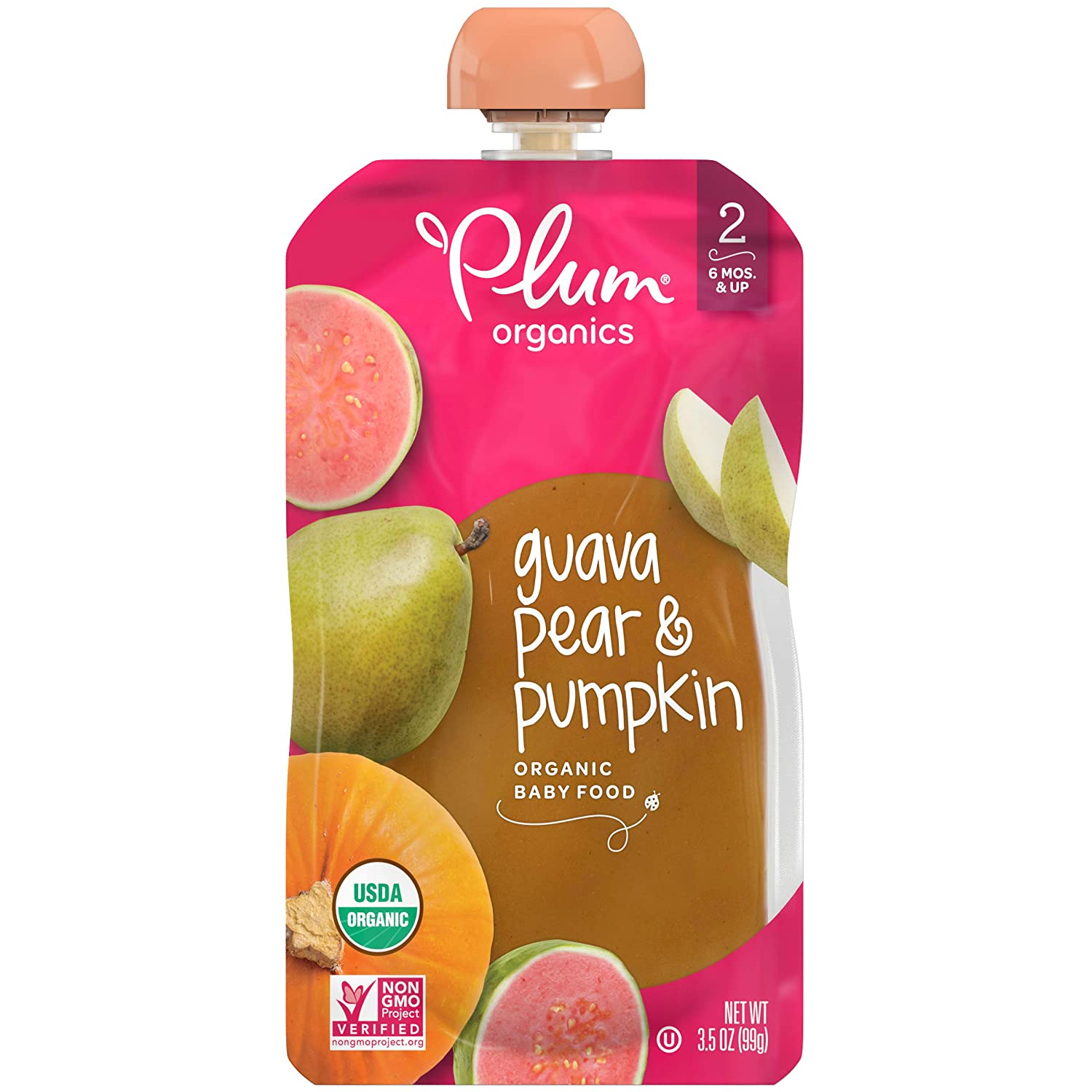Plum Organics Stage 2, Organic Baby Food, Guava, Pear & Pumpkin, 3.5 Ounce Pouch (Pack of 12) (Packaging May Vary)