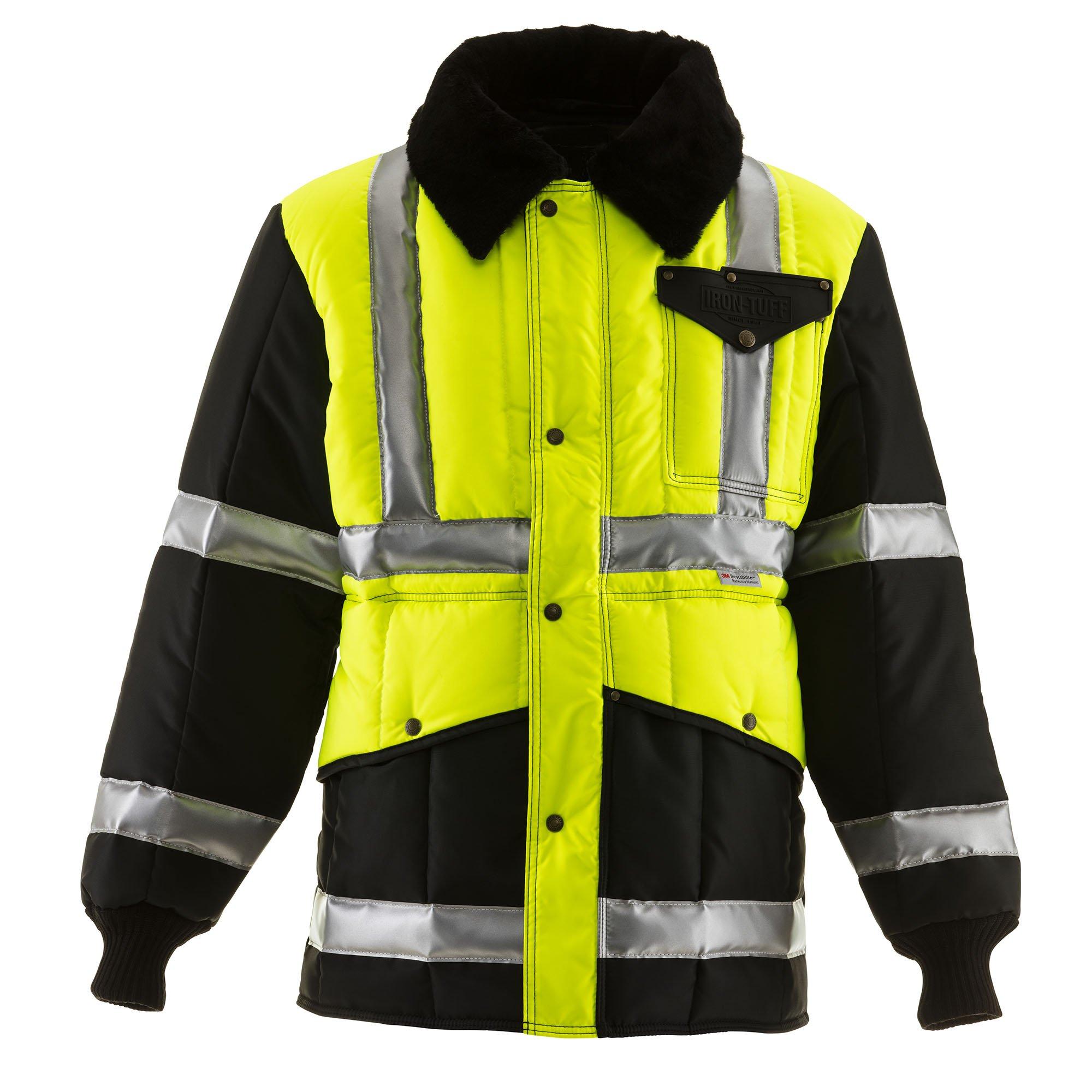 RefrigiWear HiVis Iron-Tuff Two-Tone Jackoat High Visibility Reflective Jacket, Lime/Navy Large