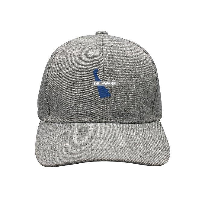 Xcvjoiwernm Delaware Map Summer Plain Caps Trucker Hat Grey At