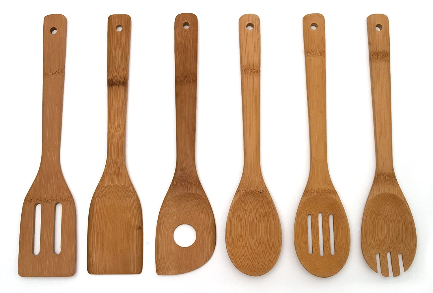 Lipper International 826 Set of 6 Bamboo Kitchen Tools, in Mesh Bag 3781