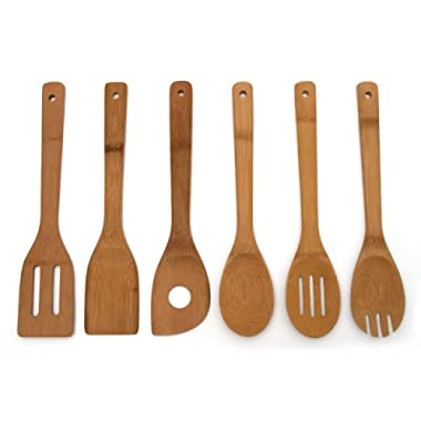 Lipper International 826 Bamboo Wood Kitchen Tools in Mesh Bag, 6-Piece Set