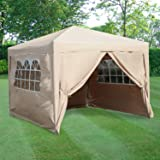 ESC Ltd 3x3mtr Pop Up Waterproof Gazebo in Beige with 2 WindBars and 4 Leg Weight Bags