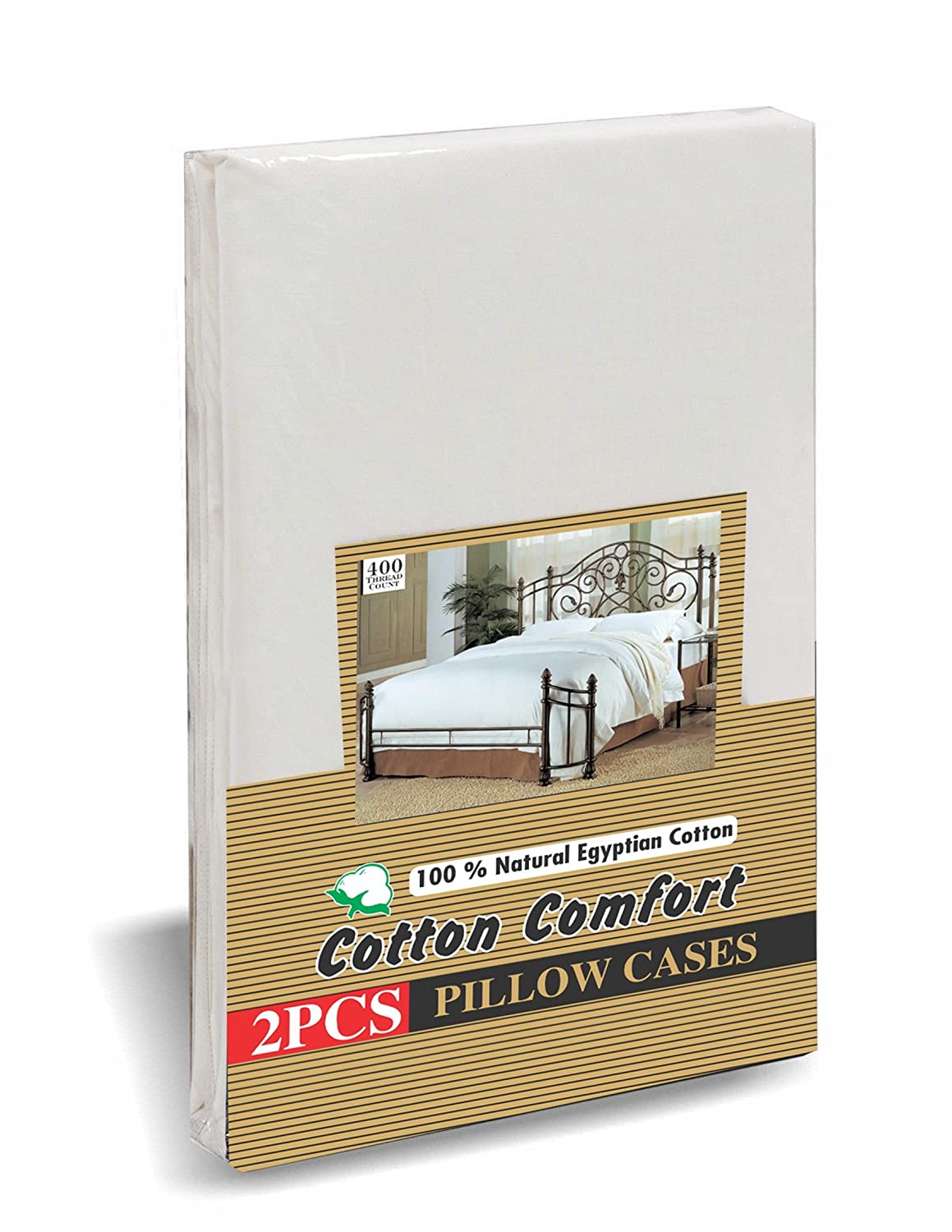 Cotton Comfort Pillow Cases 400 Thread Count 100% Egyptian Cotton, White, Pack Of 2