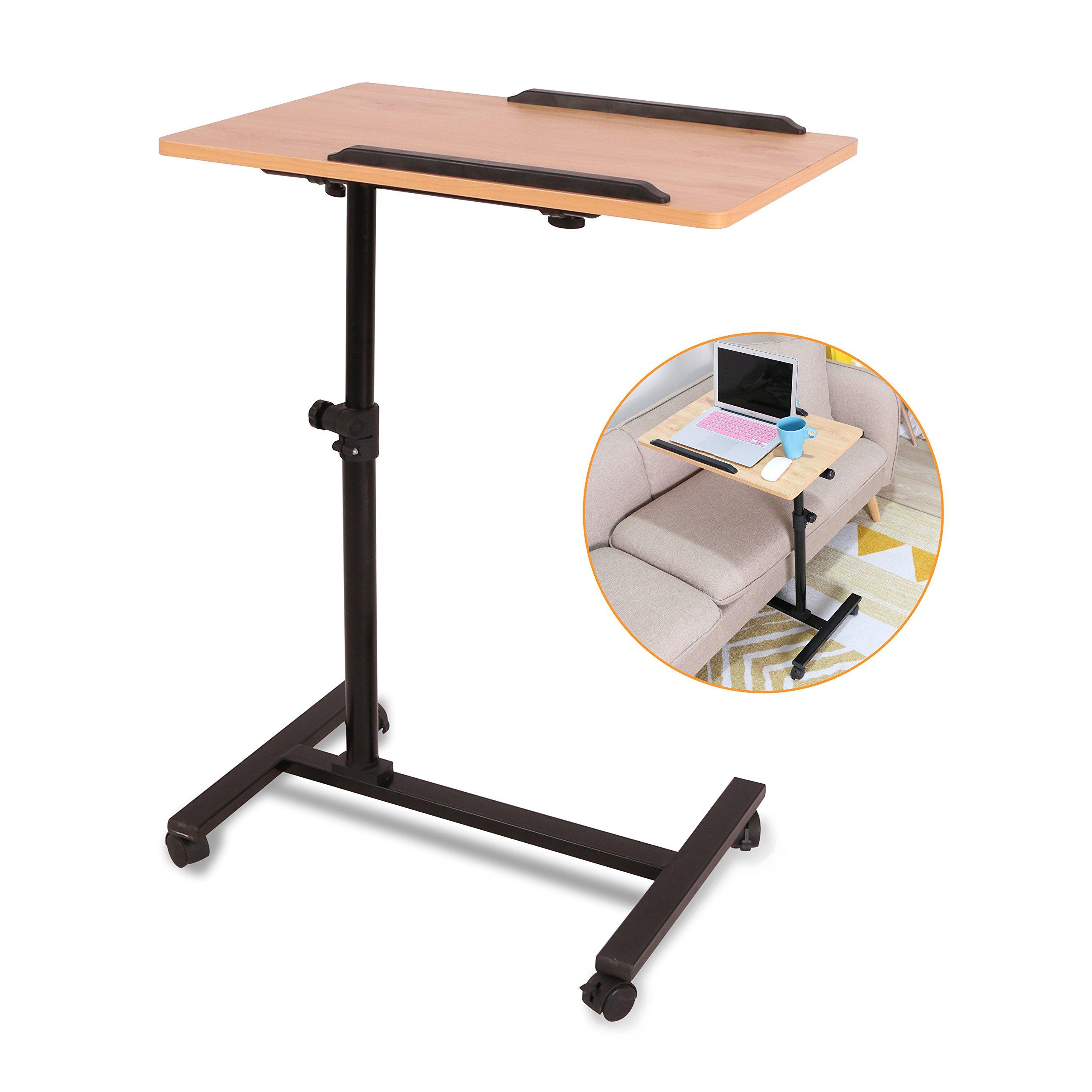 Ebuynar Adjustable Overbed Table Laptop Cart with Wheels (Single Side,Light Brown)
