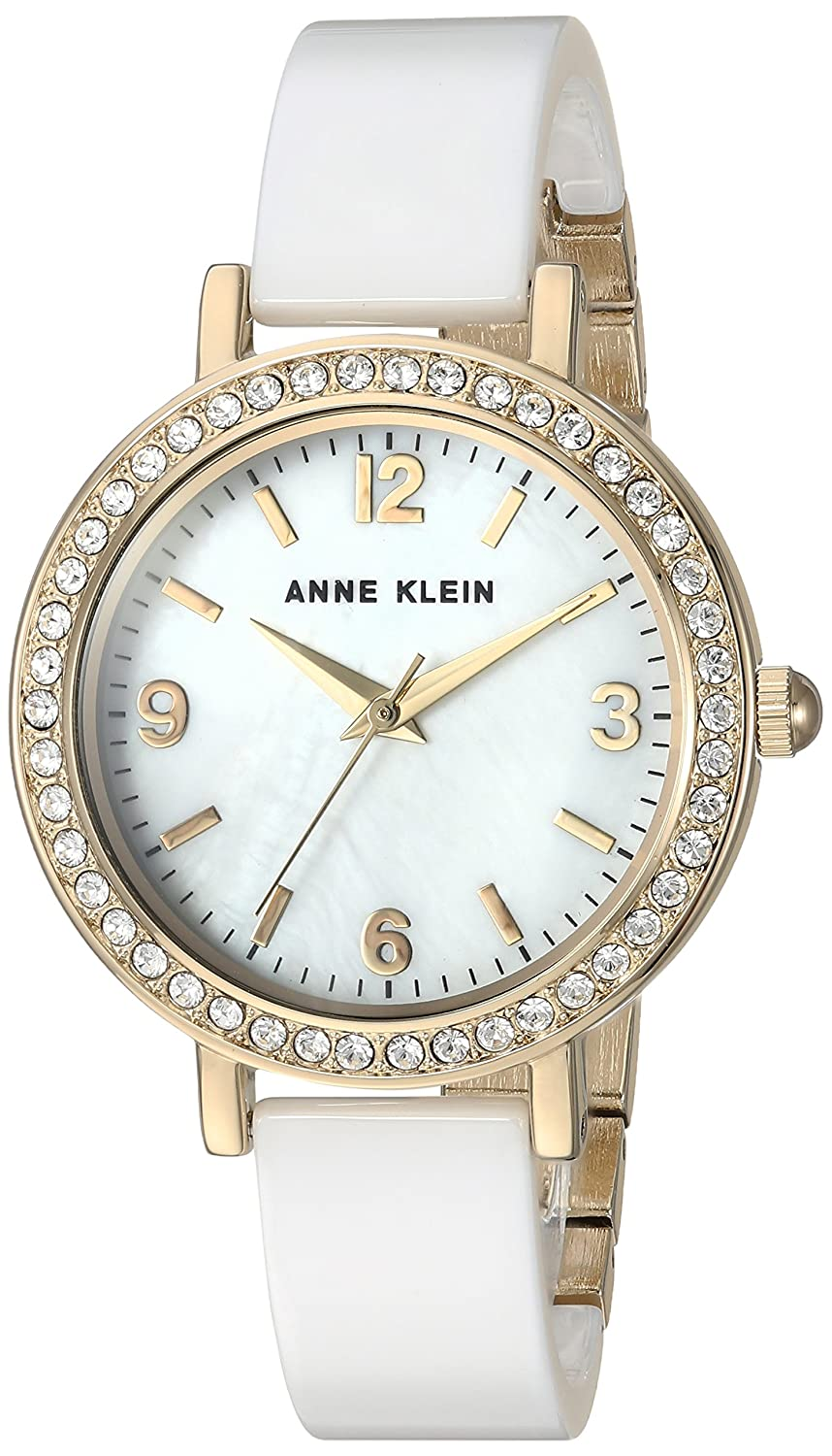 a46b10acf Amazon.com: Anne Klein Women's AK/2348WTDB Swarovski Crystal Accented Gold- Tone and White Ceramic Bangle Watch: Watches