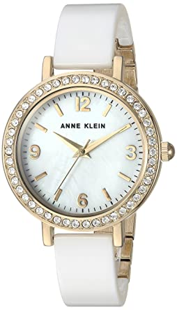 27ef21a35 Image Unavailable. Image not available for. Color: Anne Klein Women's AK/2348WTDB  Swarovski Crystal Accented Gold-Tone and White Ceramic Bangle