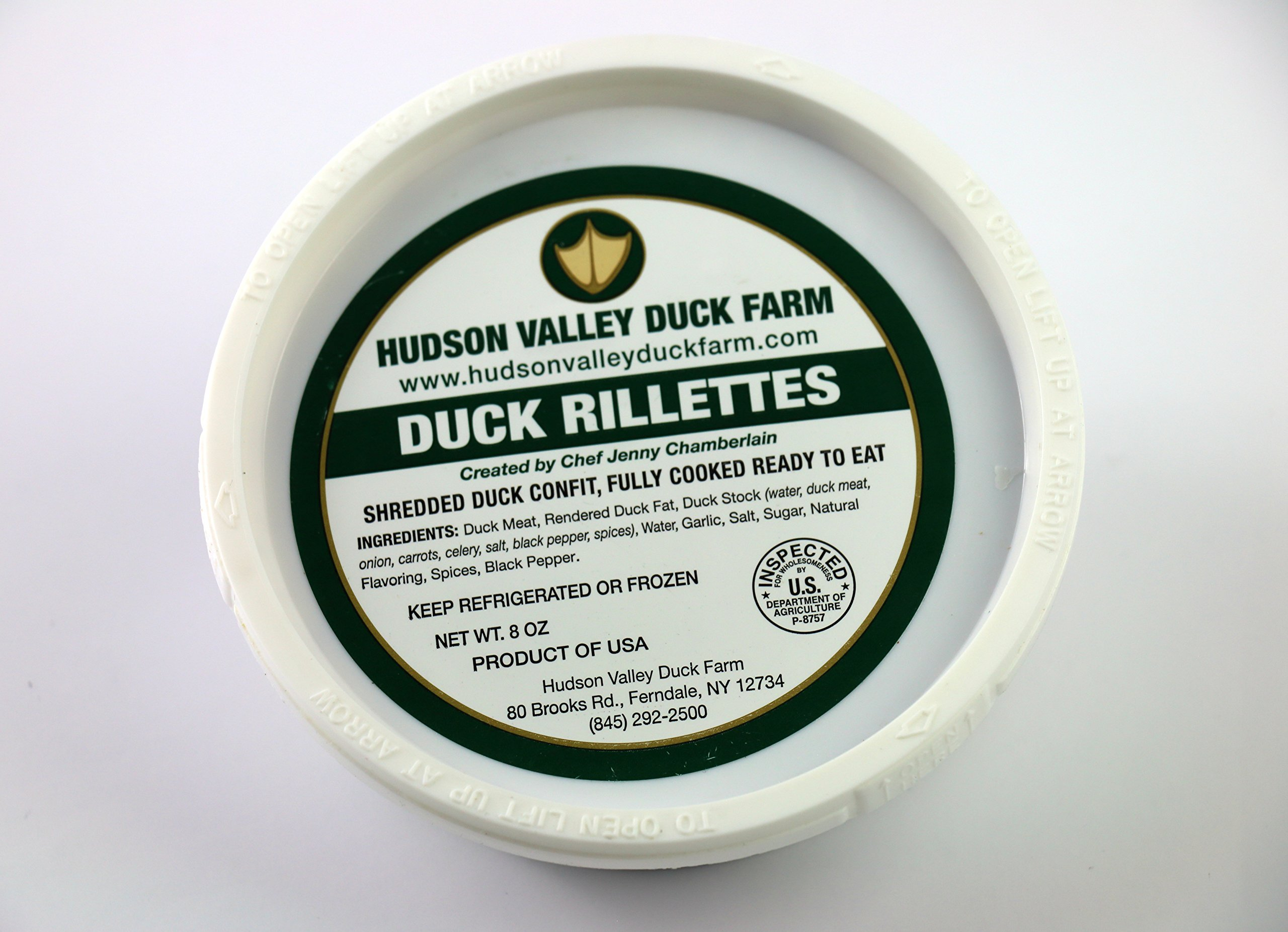 Hudson Valley Duck Farm 'Farm to Table' Duck Rillettes - 1.5 lbs (3 one half pound individual packages)