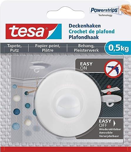 tesa 77781 Deckenhaken Tapeten & Putz-Selbstklebender ideal zur Befestigung von Deko-Objekten-hält bis zu 0,5kg/Haken-spurlos ablösbar, Weiß, 0.5 kg