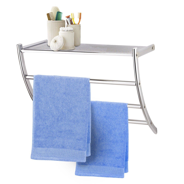 Taylor & Brown® Mensola da bagno cromata e montata a parete, con barra porta asciugamani Others