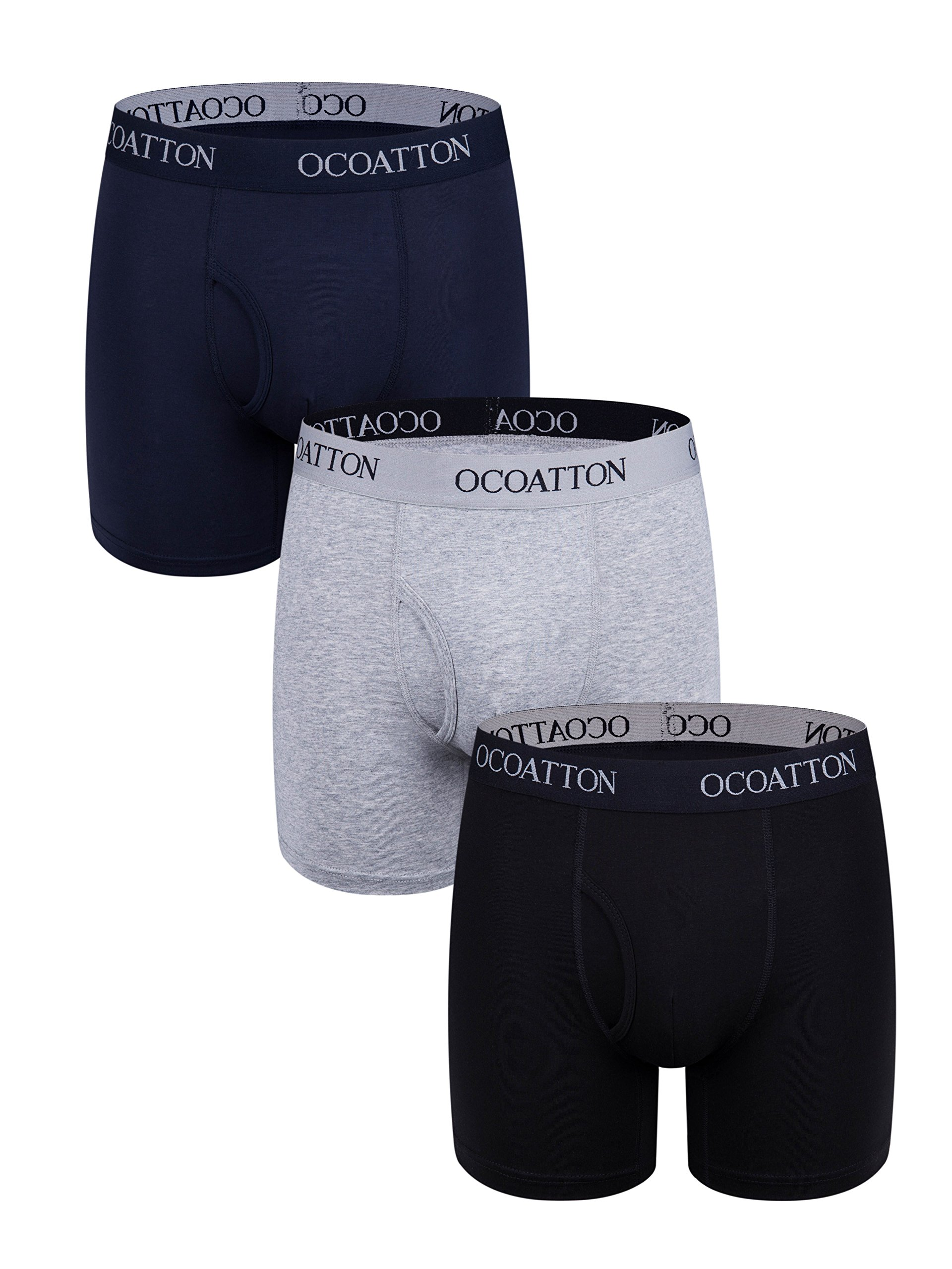 Ocoatton Men\'s Underwear Briefs 3-Pack Breathable Cotton Boxer Briefs With Front Fly (S+ / 30-32, Black+Blue+Gray)