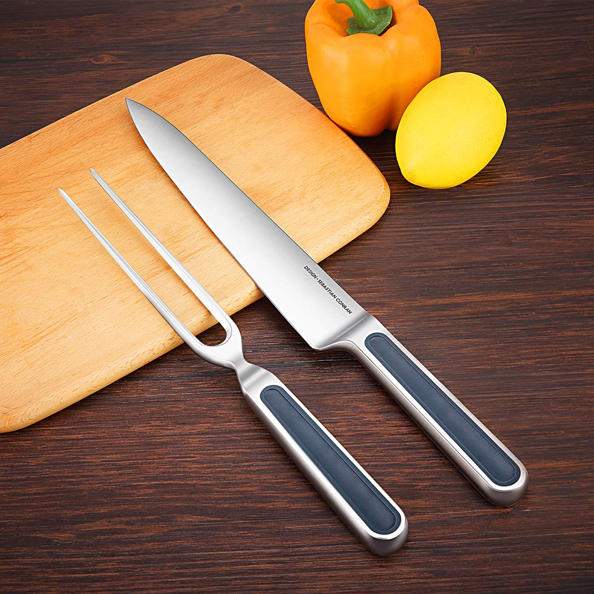 Universal Expert Carving Knife and Fork Set 2-Piece Cutlery Sets,BBQ Knives, Extended Fork for Meat, Roast, Ham, and Turkey, 8.8 Inch Stainless Steel Sharpening Gourmet Knife& Fork/Chisel by Universal Expert (Image #2)