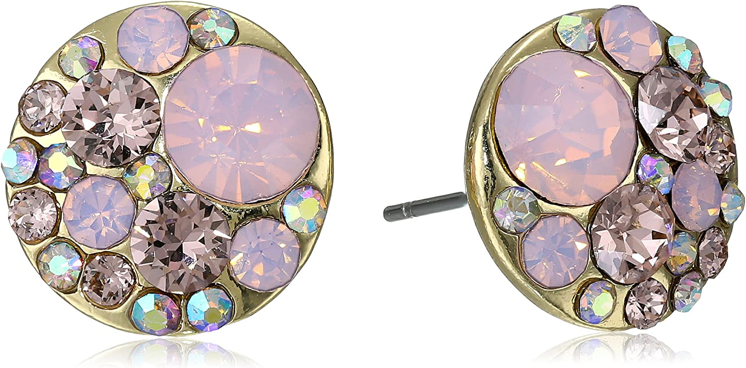 Betsey Johnson Happy Pretty Pin Faceted Bead Round Stud Earrings