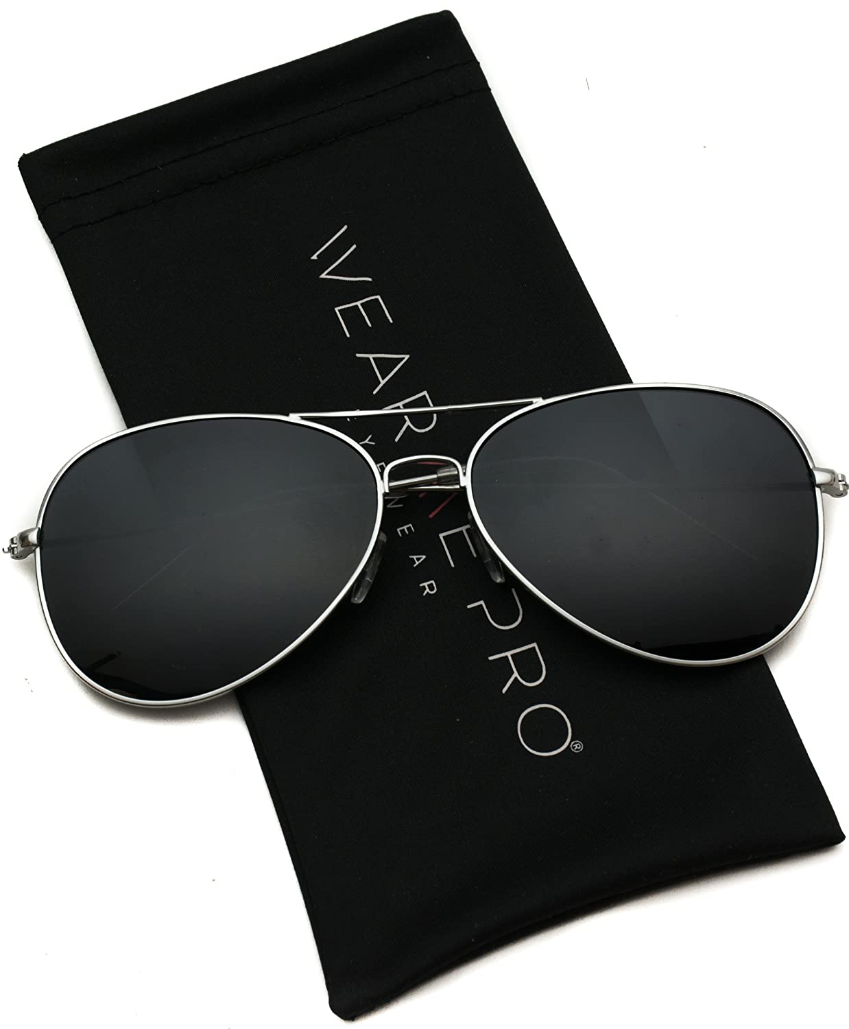 WearMe Pro - Polarized Metal Frame Pilot Style Aviator Sunglasses 60)