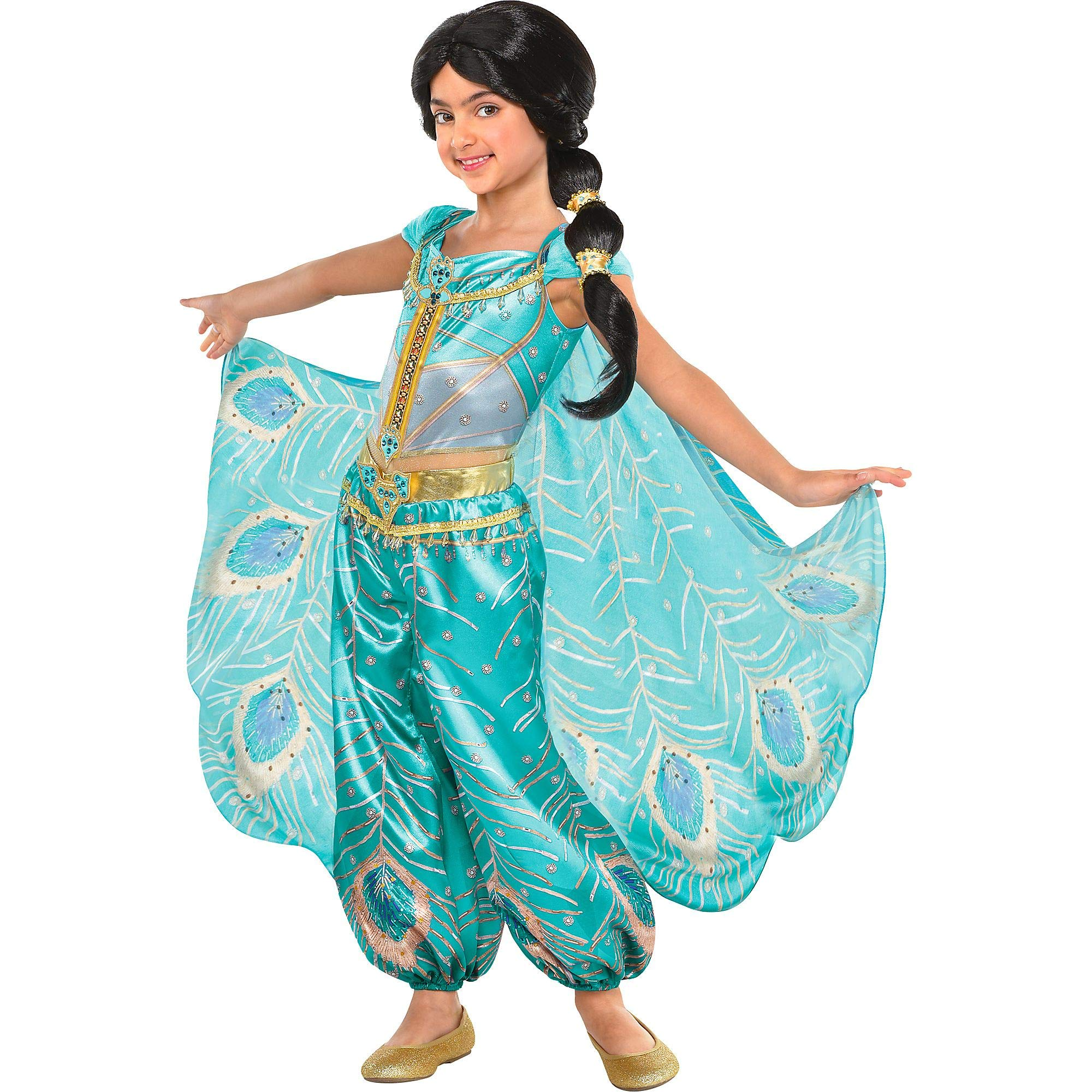 Party City Aladdin Jasmine Whole New World Costume for Children, Size Small, Features a Peacock Jumpsuit with a Cape