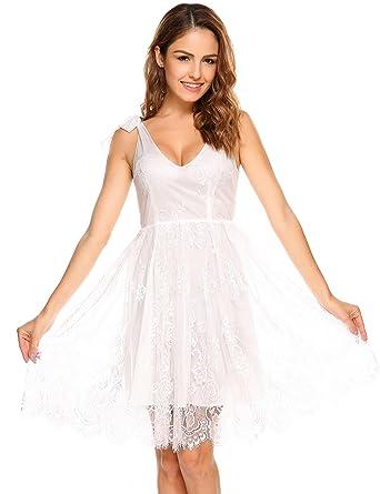 593acf288d5 Meaneor Damen Sexy Tiefer V Ausschnitt Floral Spitzen Kleid Ärmelloses  Sommer Trägerkleid Dekolleté Brautjunfernkleider  Amazon.de  Bekleidung