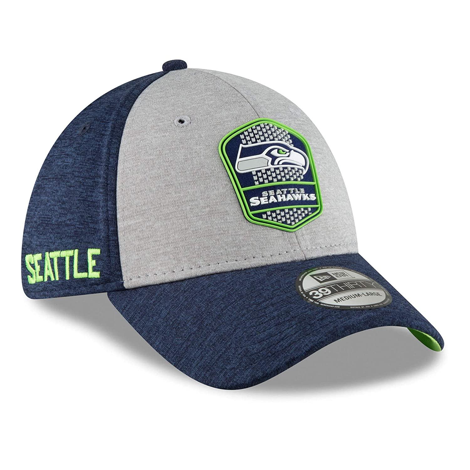 New Era NFL Seattle Seahawks Authentic 2018 Sideline 39THIRTY Stretch Fit Road Cap