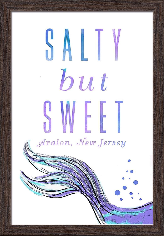 New Jersey Avalon Mermaid Tale 24x36 Giclee Art Print, Gallery Framed, Black Wood Salty But Sweet