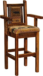 product image for Fireside Lodge Barnwood Artisan Upholstered Counter Stool with Back and Arms