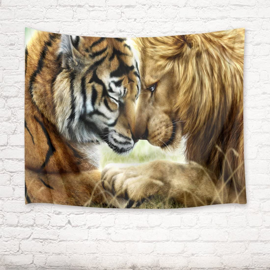 HVEST Tiger and Lion Tapestry Closed Friend Wall Hanging Wild Animal Tapestries for Bedroom,Living Room,Dorm Party Wall Decor,92.5Wx70.9H inches