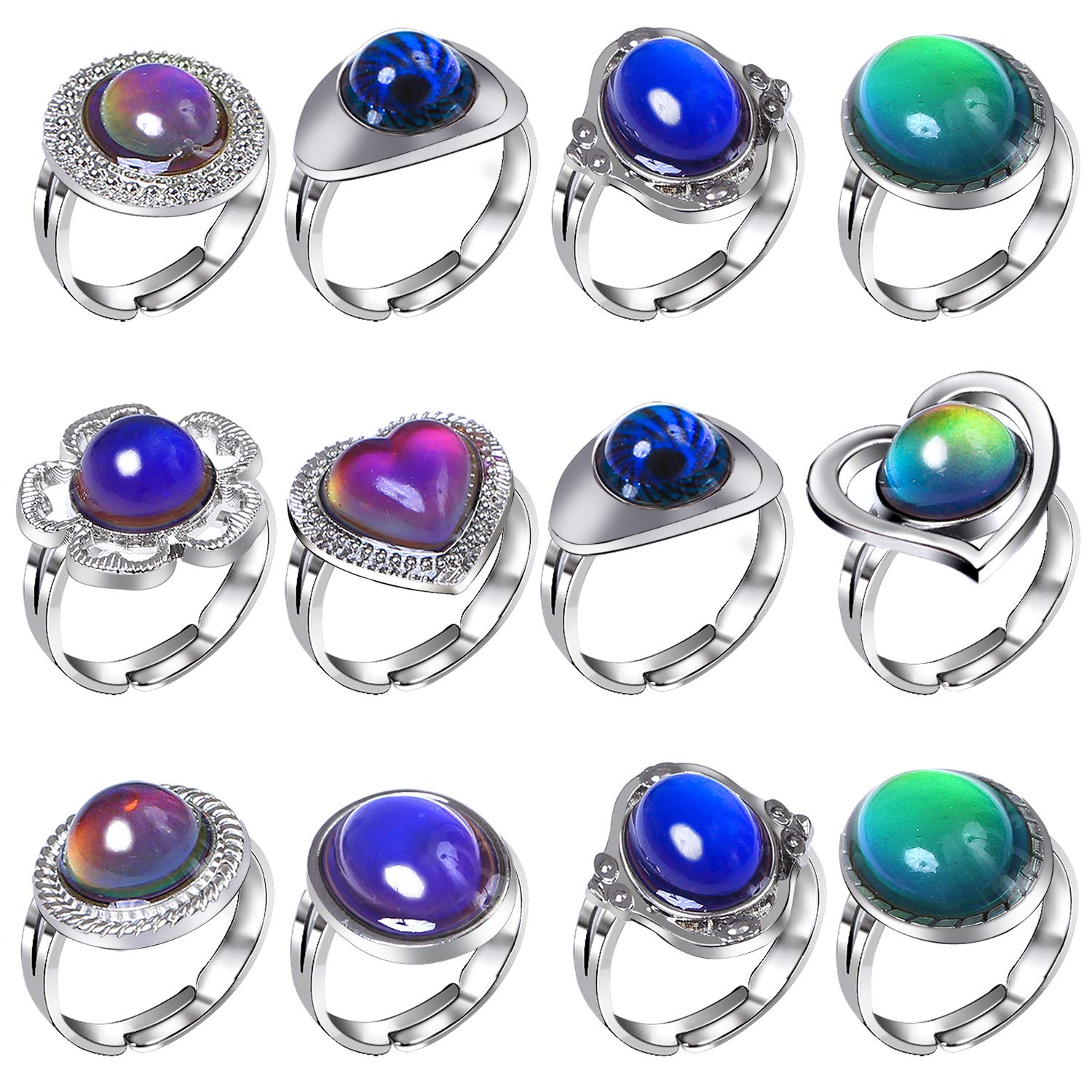 Aneco 12 Pieces Adjustable Mood Rings Color Changing Mood Rings for Girls and Boys Mixed Color for Halloween Costume Props Birthday Party Favors by Aneco