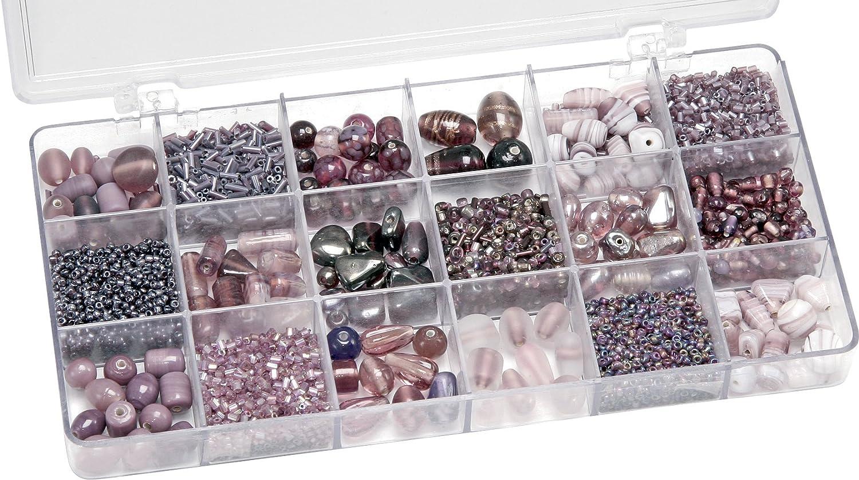 Gütermann / KnorrPrandell 6050310 - Caja con perlas de cristal para bisutería (tamaños surtidos), color morado [importado de Alemania]