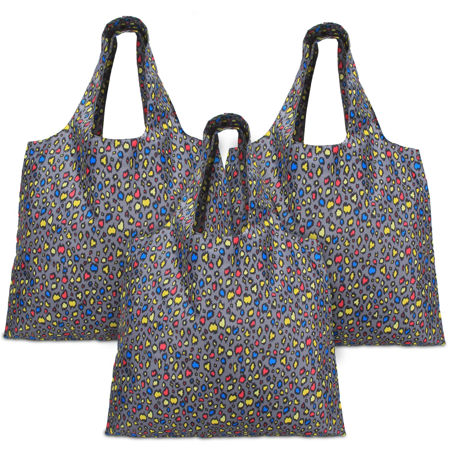 Luxja Reusable Shopping Bags Set of 3, Foldable Grocery Bags with Attached Pouch, Washable, Durable and Lightweight, Rose