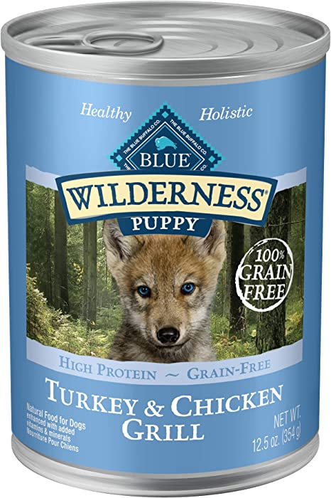 Blue Buffalo Wilderness High Protein Grain Free Natural Puppy Wet Dog Food, 12.5-oz cans (Pack of 12)