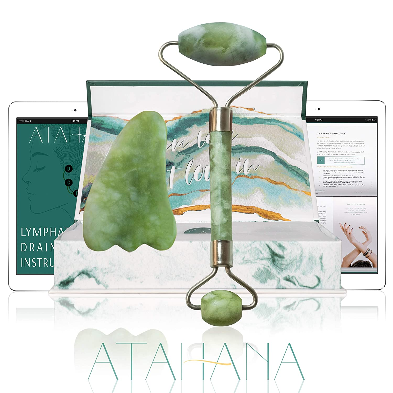 Real Jade Roller & Gua Sha - 100% Real Jade Facial Roller - with Video Tutorial and eBook - Natural Skin Care Tool for Lymphatic Drainage, Face, Neck and Eyes - Wrinkles, Puffiness and Dark Circles