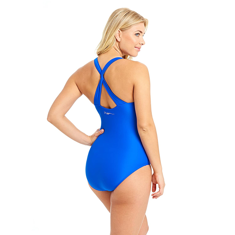 Zoggs Women/'s Aqua Reef Trinity Twistback Swimsuit Noble Blue Size 18