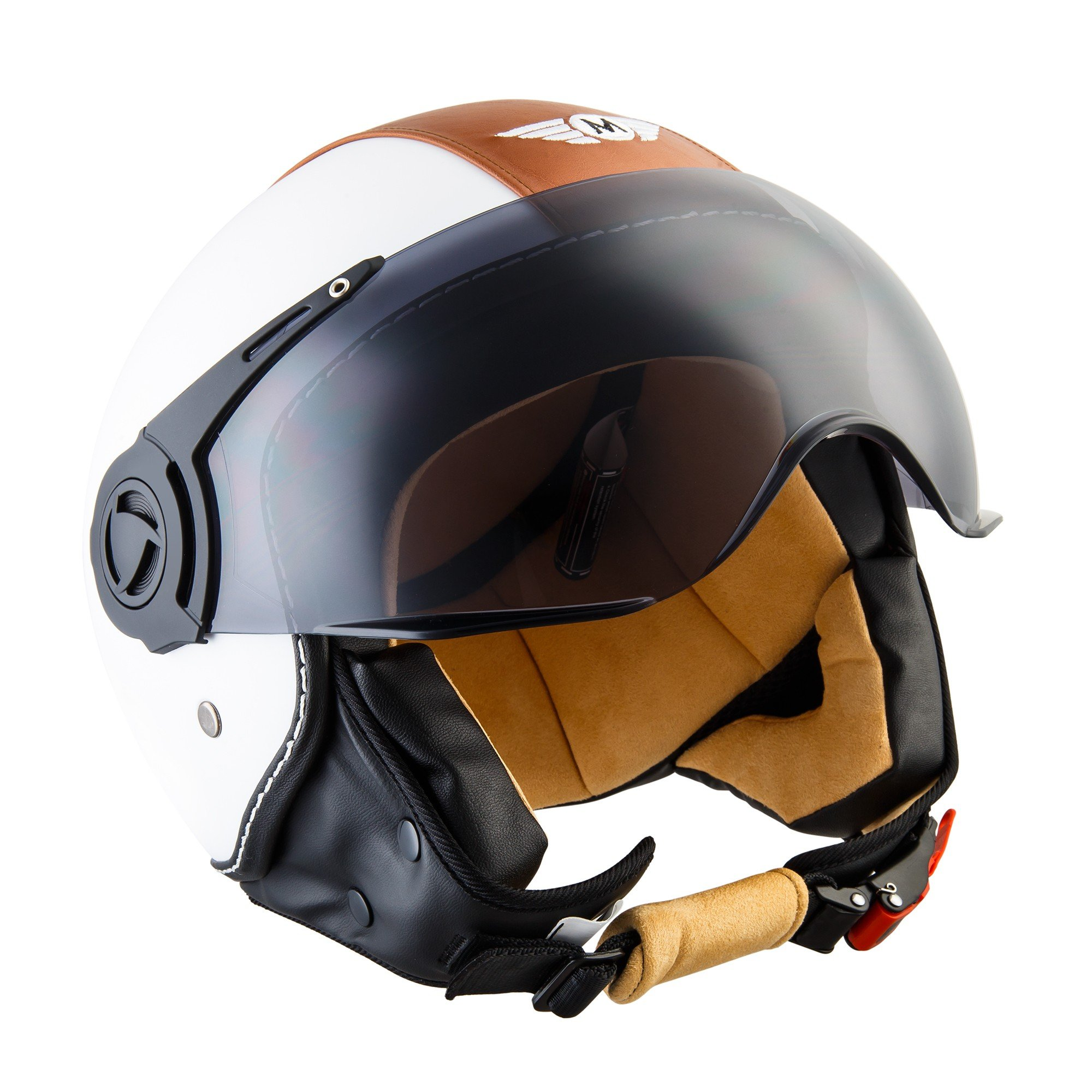 Moto Helmets H44 - Helmet Casco de Moto , Blanco/Cuero, S (55
