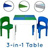 Kids Activity Table Set - 3 in 1 Water Table, Craft Table and Building Brick Table with Storage - Includes 2 Chairs and 25 Jumbo Bricks - Blue and Green