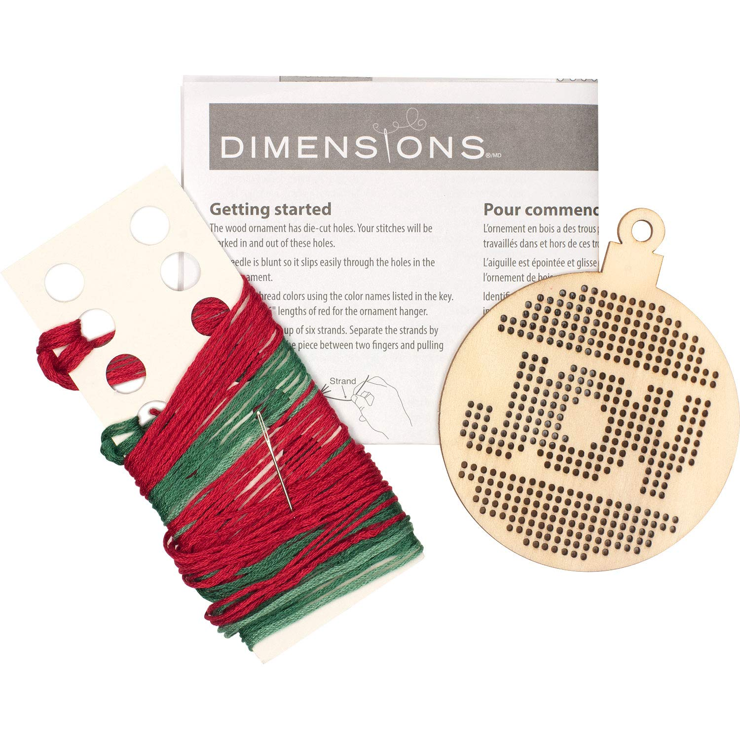 1 Pc Dimensions 72-76056 Counted Cross Stitch Joy Wooden Christmas Ornament Craft Kit