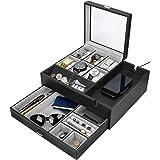HOUNDSBAY Commander Dresser Valet Watch Box Case & Mens Jewelry Box Organizer with Smartphone Charging Station (Black/Gray)