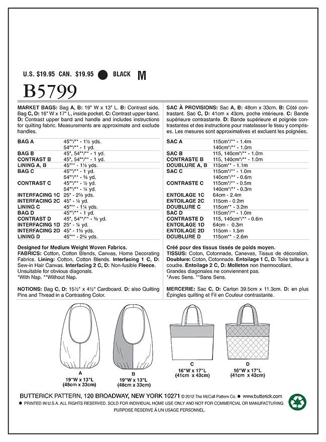 Butterick BTK 5799 OSZ (ONE SIZE) B5799 Schnittmuster zum Nähen ...