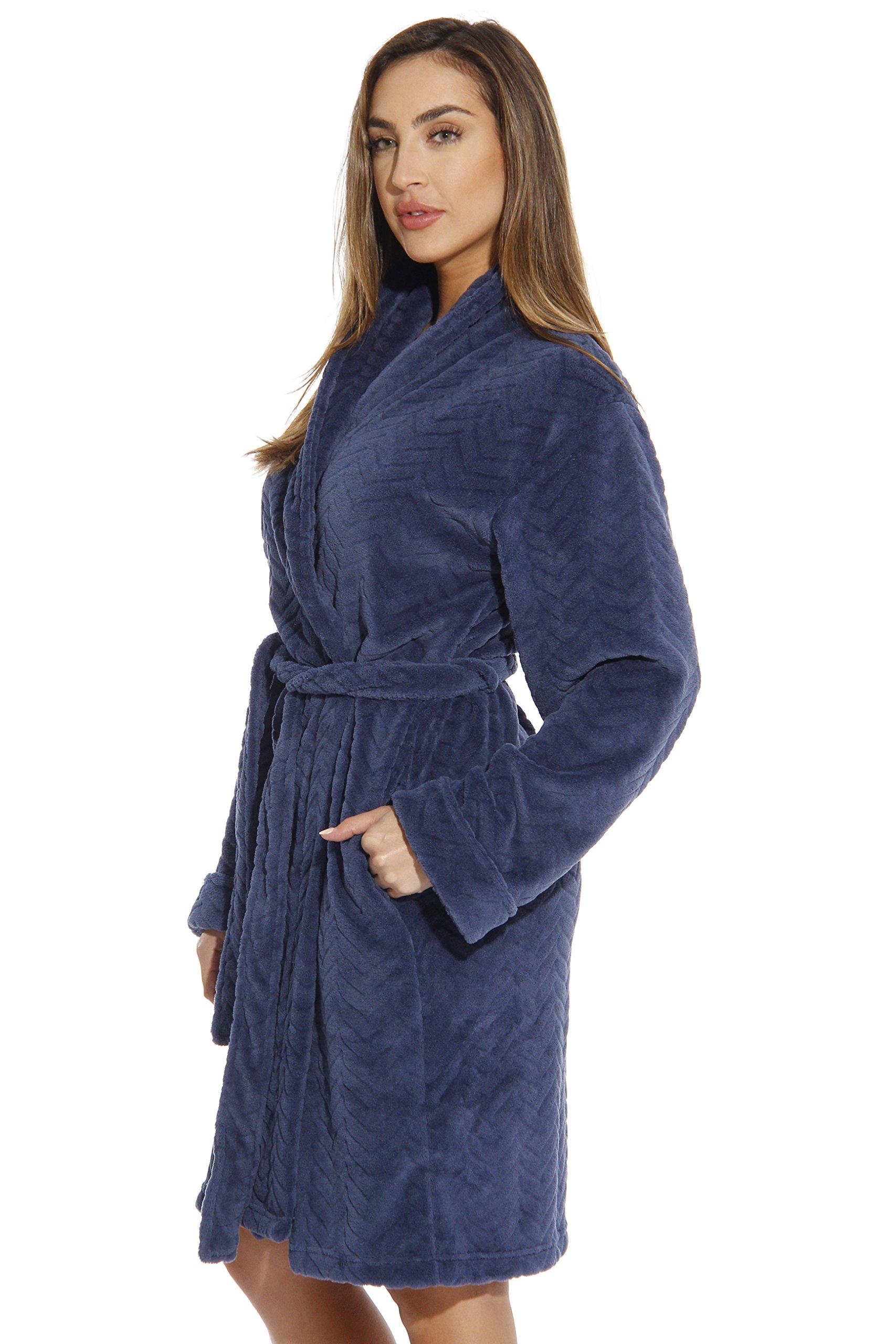 Just Love Kimono Robe Velour Chevron Texture Bath Robes for Women, Navy, Medium by Just Love (Image #2)