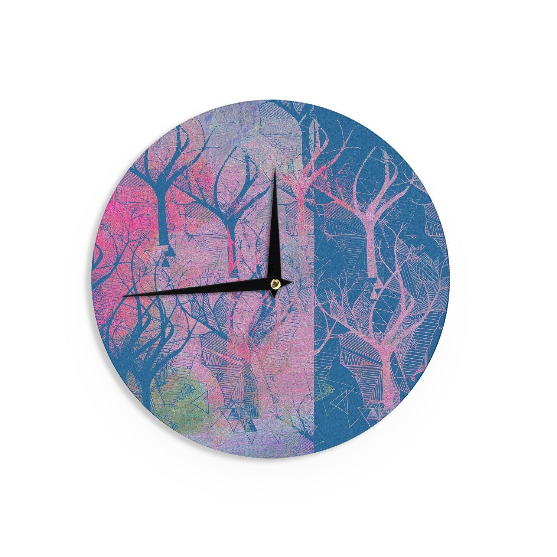 12-Inch Kess InHouse Marianna Tankelevich Fantasy Garden Pink Blue Wall Clock