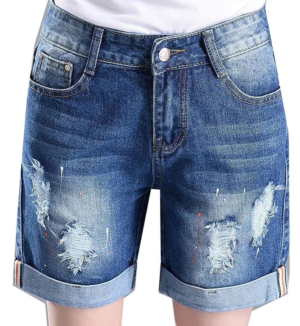 KXP Womens Ripped Cuffed Knee Length Denim Bermuda Shorts dark blue L